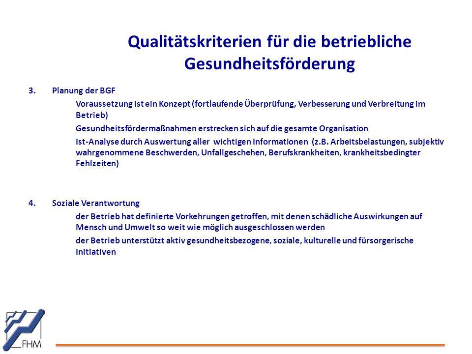Qualitätskriterien für die betriebliche Gesundheitsförderung