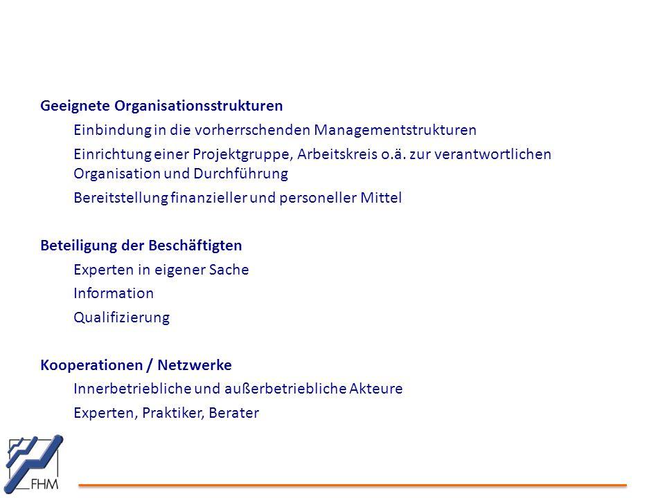 Geeignete Organisationsstrukturen