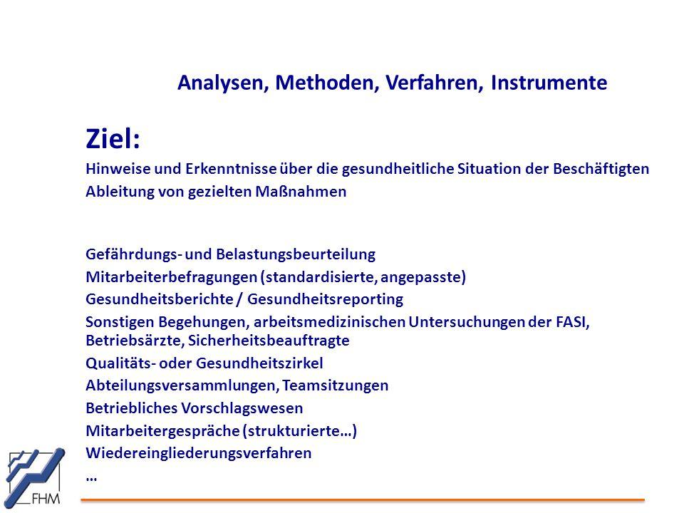 Analysen, Methoden, Verfahren, Instrumente