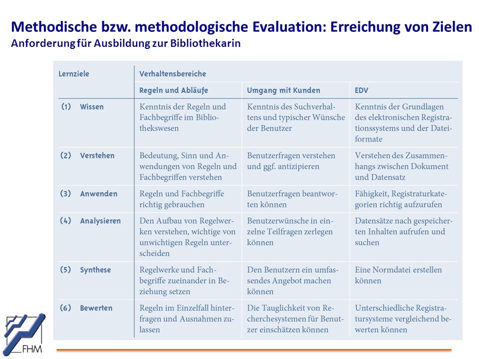 Methodische bzw. methodologische Evaluation: Erreichung von Zielen