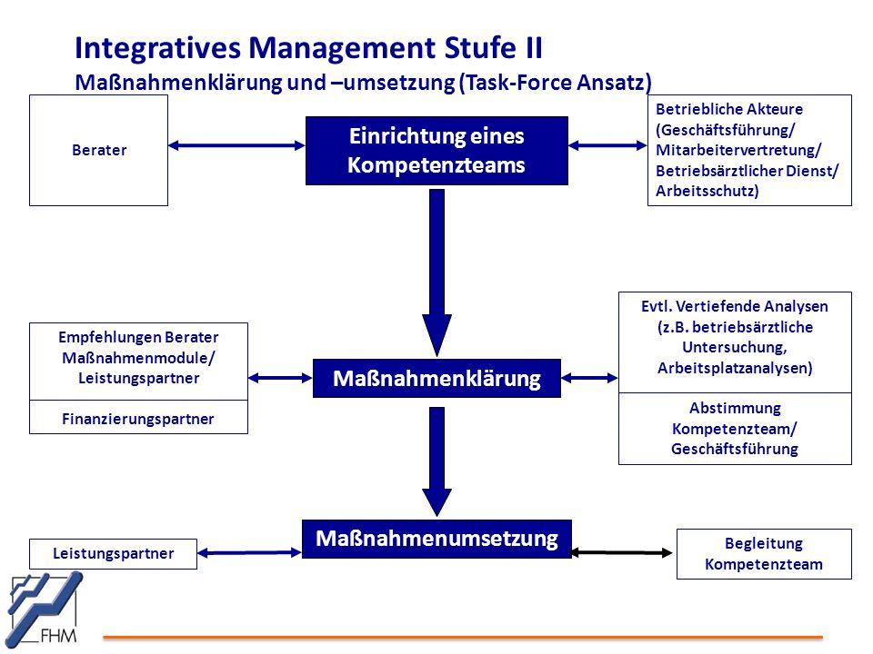 Integratives Management Stufe II Maßnahmenklärung und –umsetzung (Task-Force Ansatz)