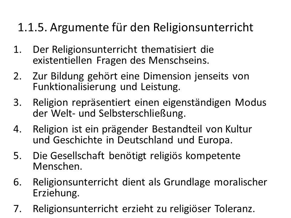 1.1.5. Argumente für den Religionsunterricht