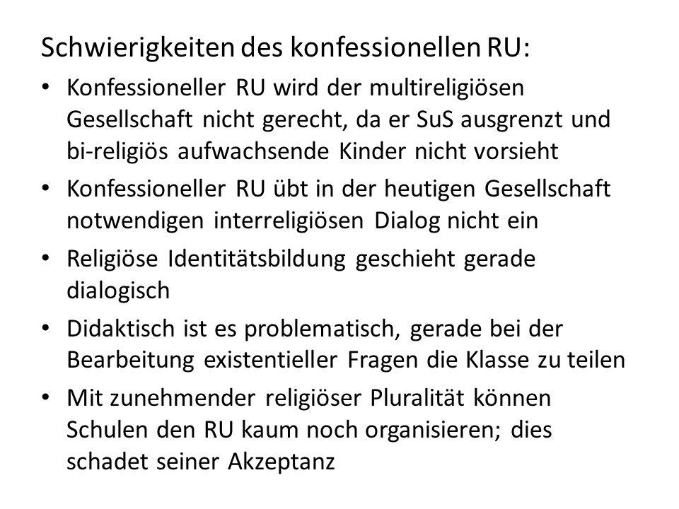 Schwierigkeiten des konfessionellen RU: