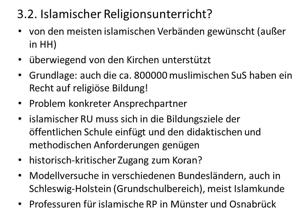 3.2. Islamischer Religionsunterricht