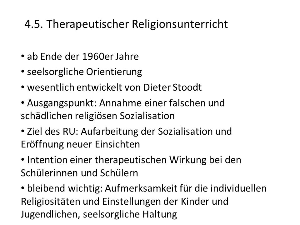 4.5. Therapeutischer Religionsunterricht