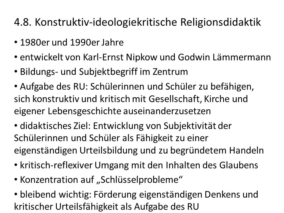 4.8. Konstruktiv-ideologiekritische Religionsdidaktik