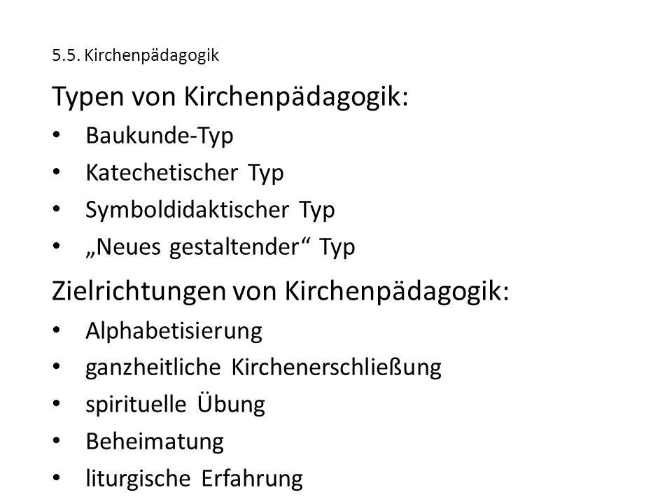Typen von Kirchenpädagogik:
