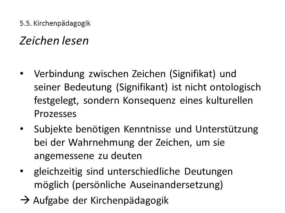 5.5. Kirchenpädagogik Zeichen lesen.