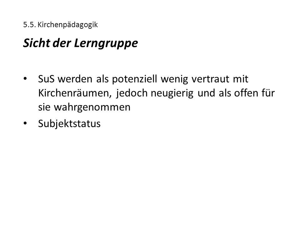 5.5. Kirchenpädagogik Sicht der Lerngruppe.