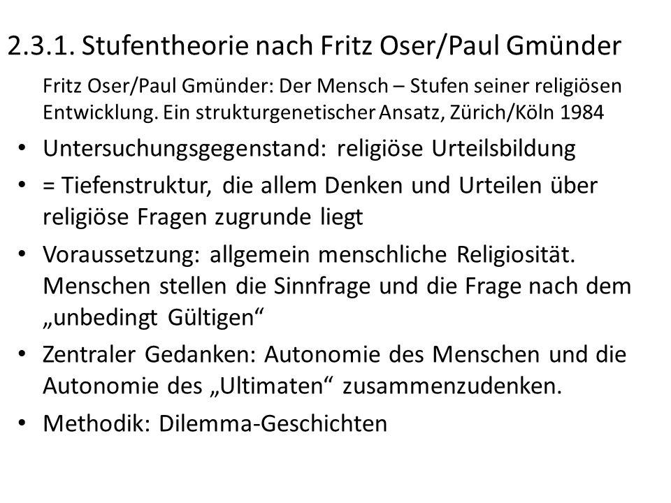 2.3.1. Stufentheorie nach Fritz Oser/Paul Gmünder