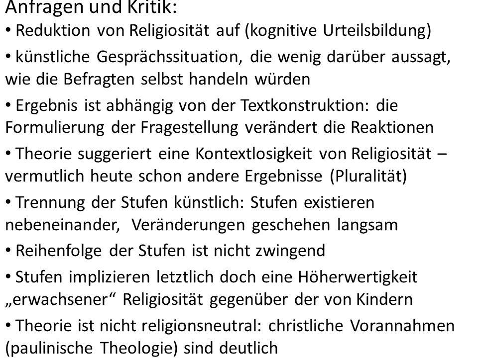 Anfragen und Kritik: Reduktion von Religiosität auf (kognitive Urteilsbildung)