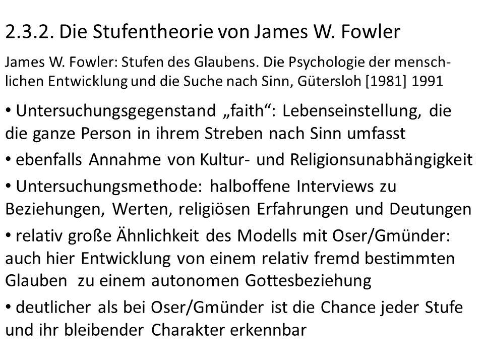 2.3.2. Die Stufentheorie von James W. Fowler