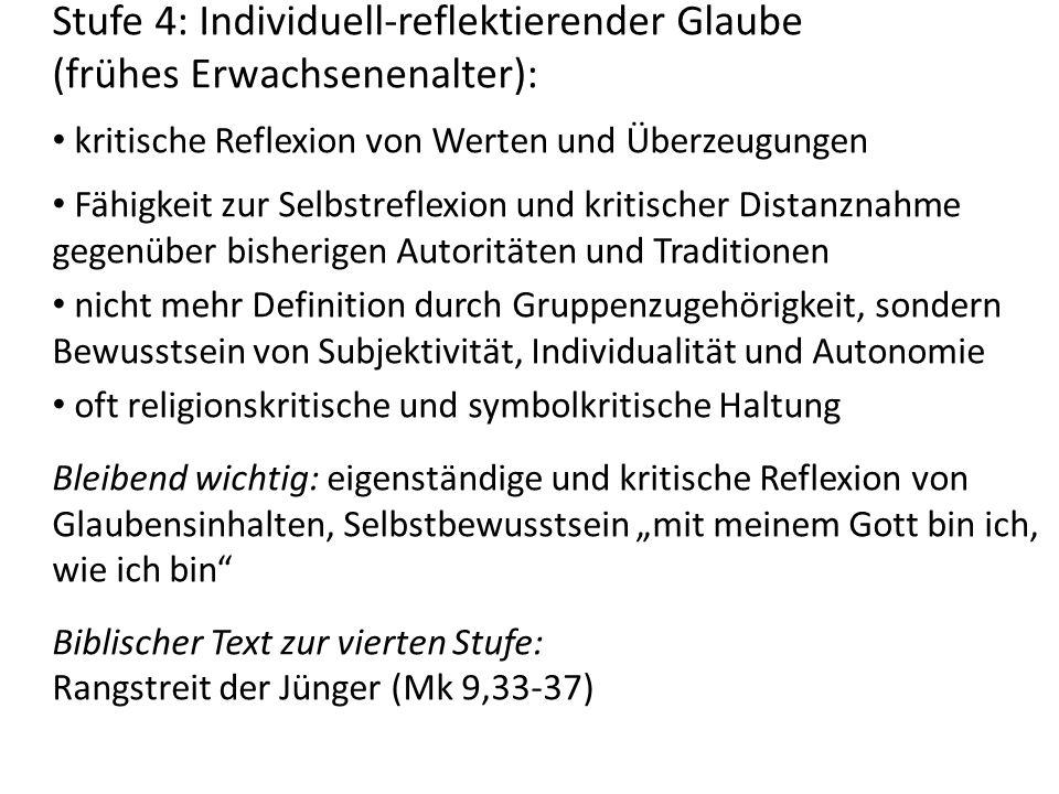 Stufe 4: Individuell-reflektierender Glaube (frühes Erwachsenenalter):