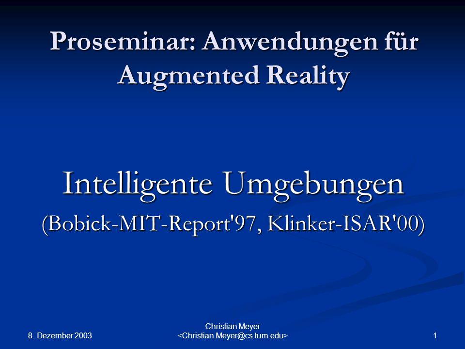 Proseminar: Anwendungen für Augmented Reality