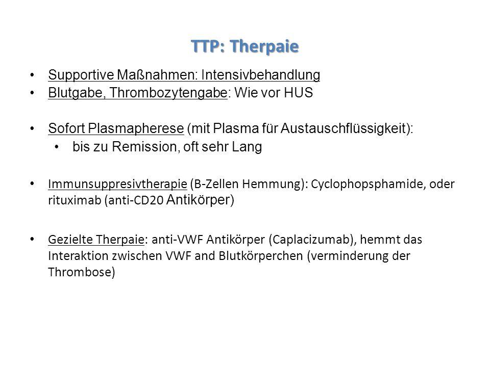TTP: Therpaie Supportive Maßnahmen: Intensivbehandlung