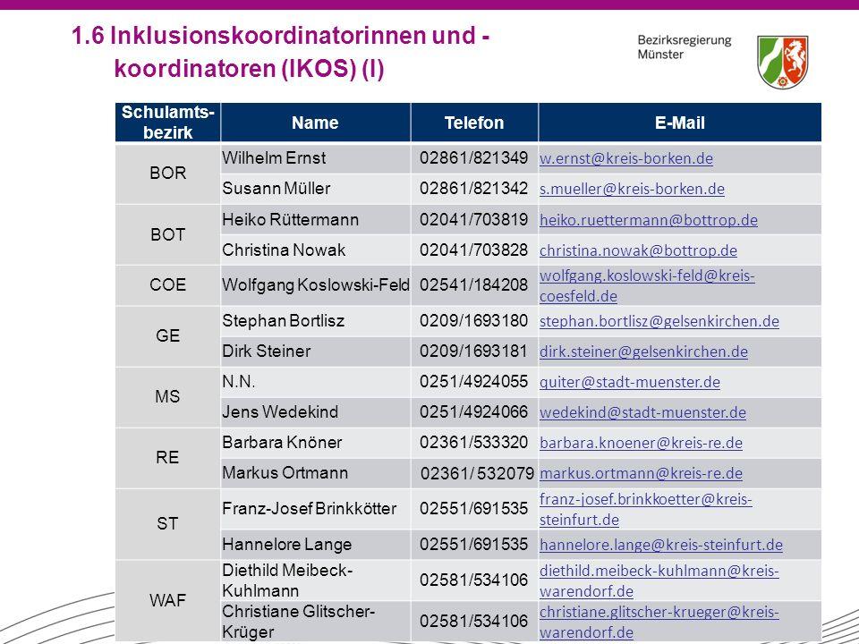 1.6 Inklusionskoordinatorinnen und -koordinatoren (IKOS) (I)