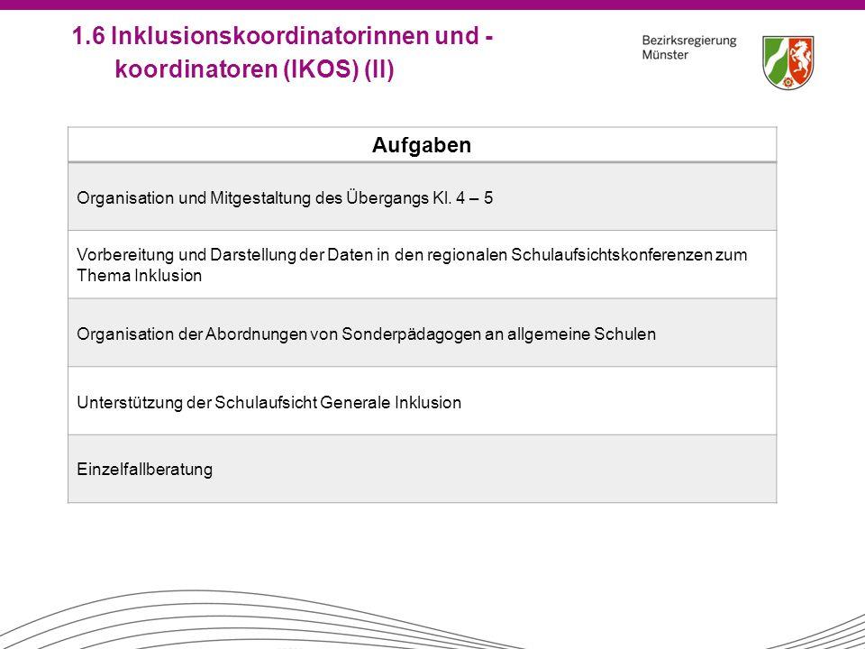 1.6 Inklusionskoordinatorinnen und -koordinatoren (IKOS) (II)