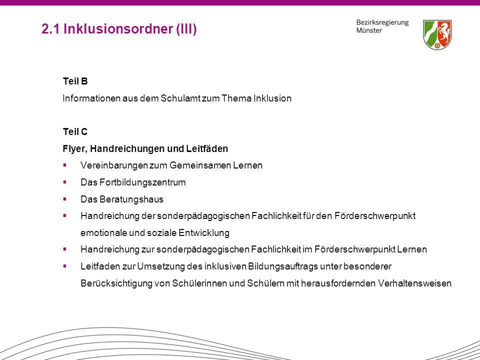 2.1 Inklusionsordner (III)
