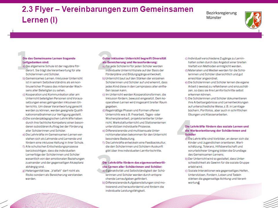 2.3 Flyer – Vereinbarungen zum Gemeinsamen Lernen (I)
