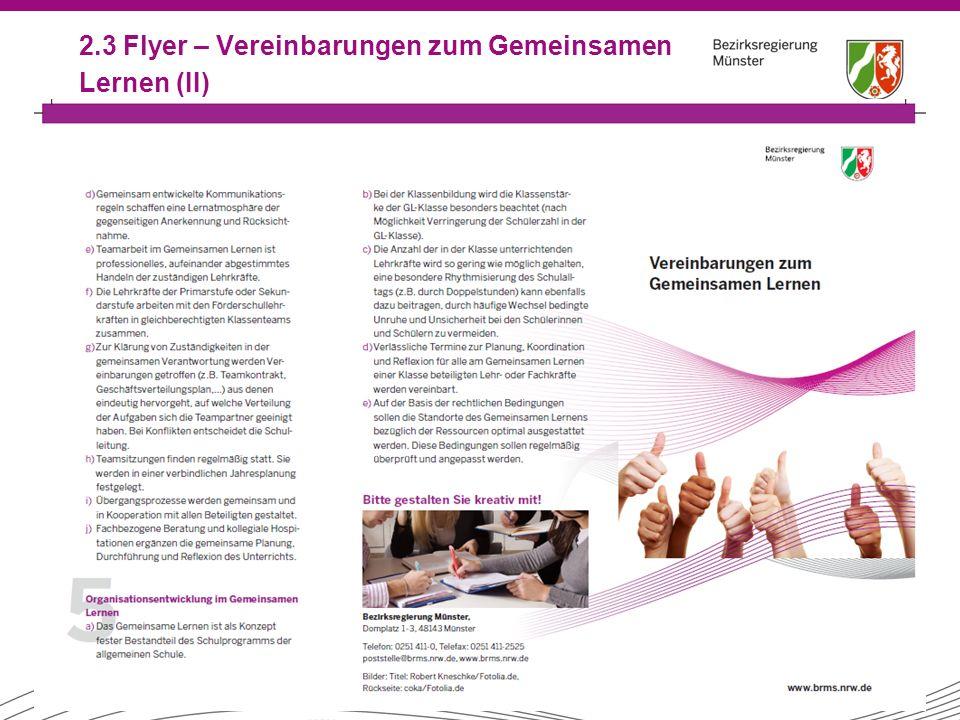 2.3 Flyer – Vereinbarungen zum Gemeinsamen Lernen (II)
