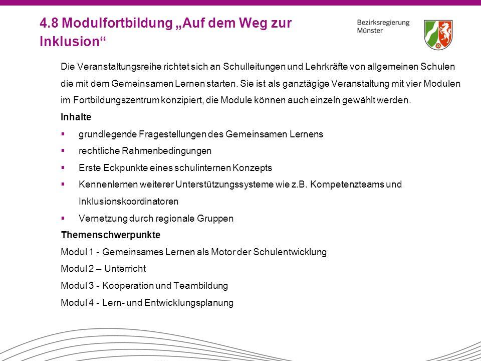 """4.8 Modulfortbildung """"Auf dem Weg zur Inklusion"""