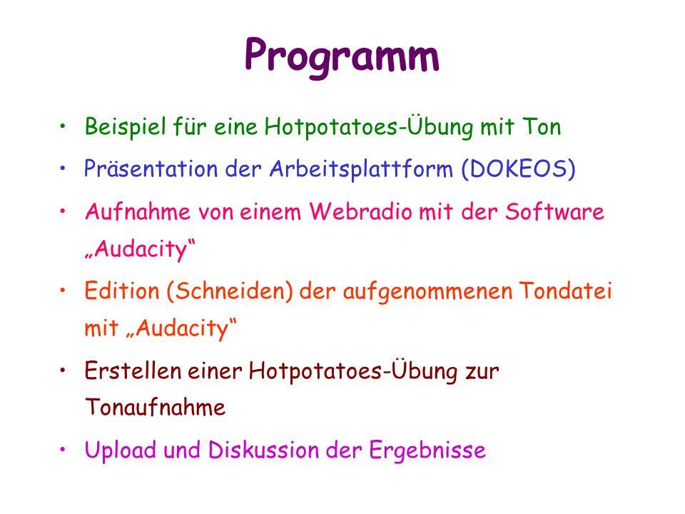 Programm Beispiel für eine Hotpotatoes-Übung mit Ton