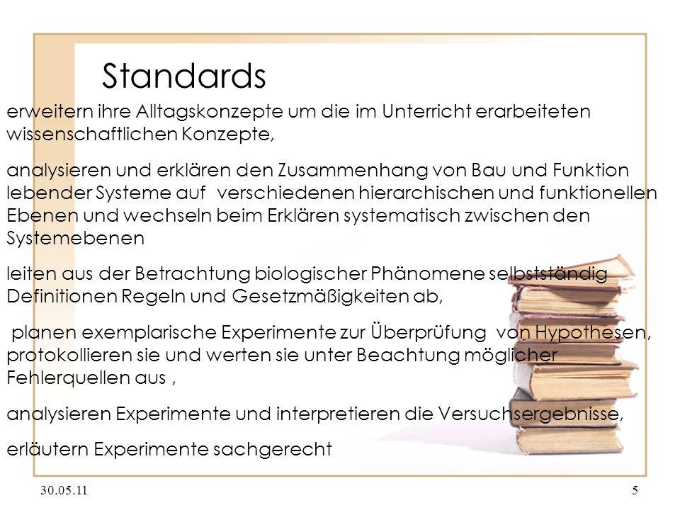 Standards erweitern ihre Alltagskonzepte um die im Unterricht erarbeiteten wissenschaftlichen Konzepte,