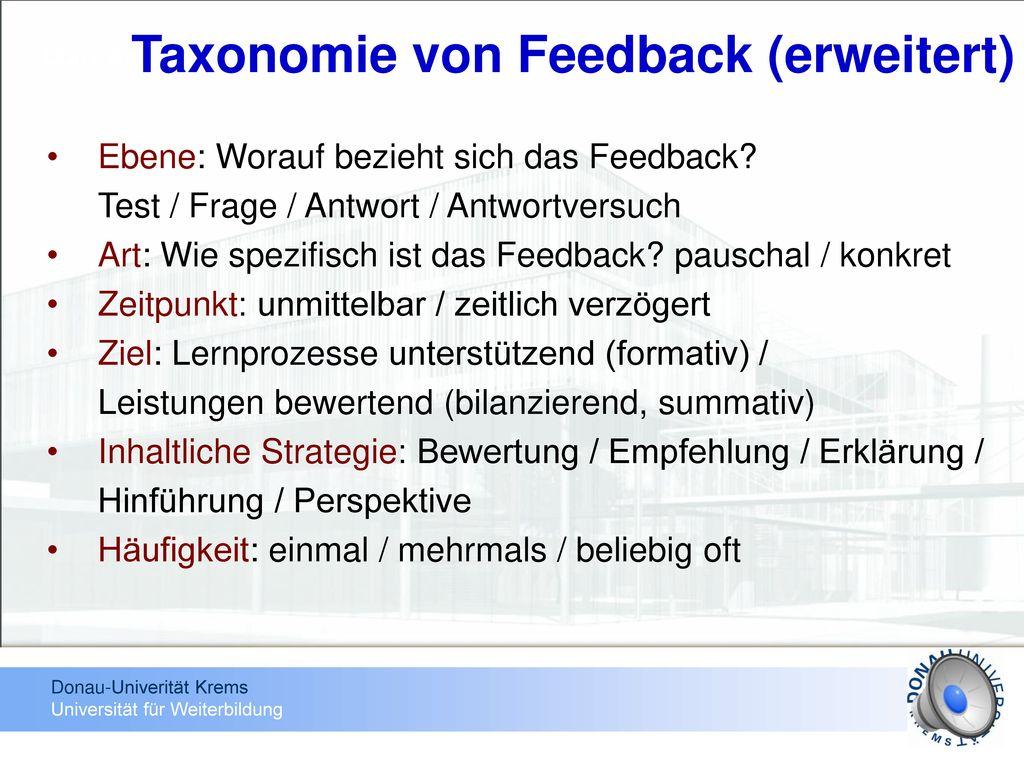 Taxonomie von Feedback (erweitert)