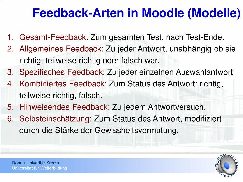 Feedback-Arten in Moodle (Modelle)