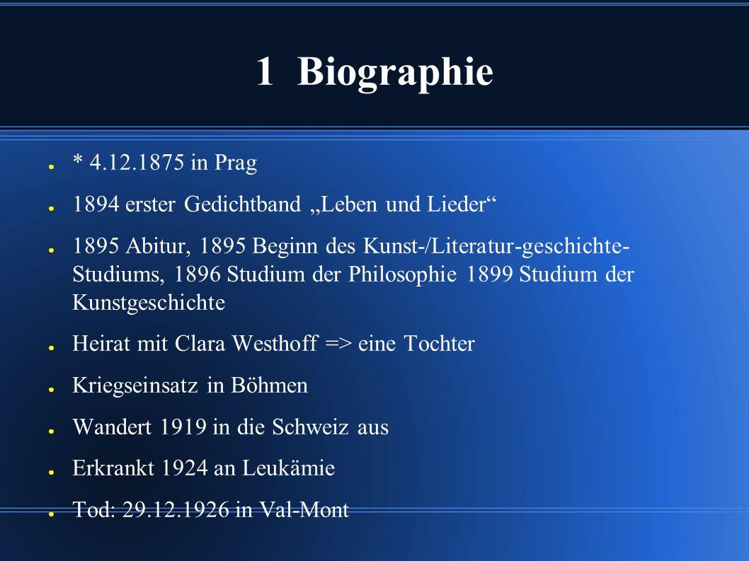 """1 Biographie * 4.12.1875 in Prag. 1894 erster Gedichtband """"Leben und Lieder"""