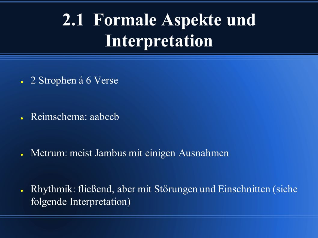 2.1 Formale Aspekte und Interpretation
