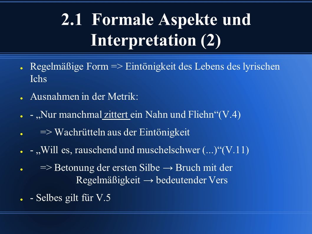 2.1 Formale Aspekte und Interpretation (2)