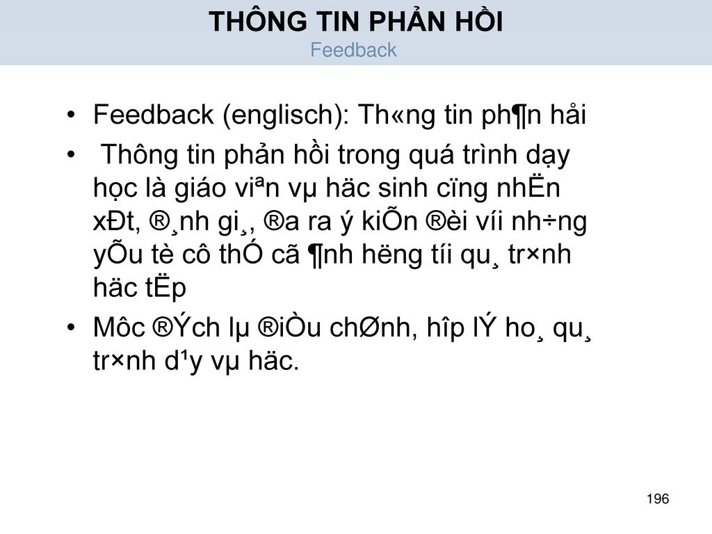 Feedback (englisch): Th«ng tin ph¶n håi