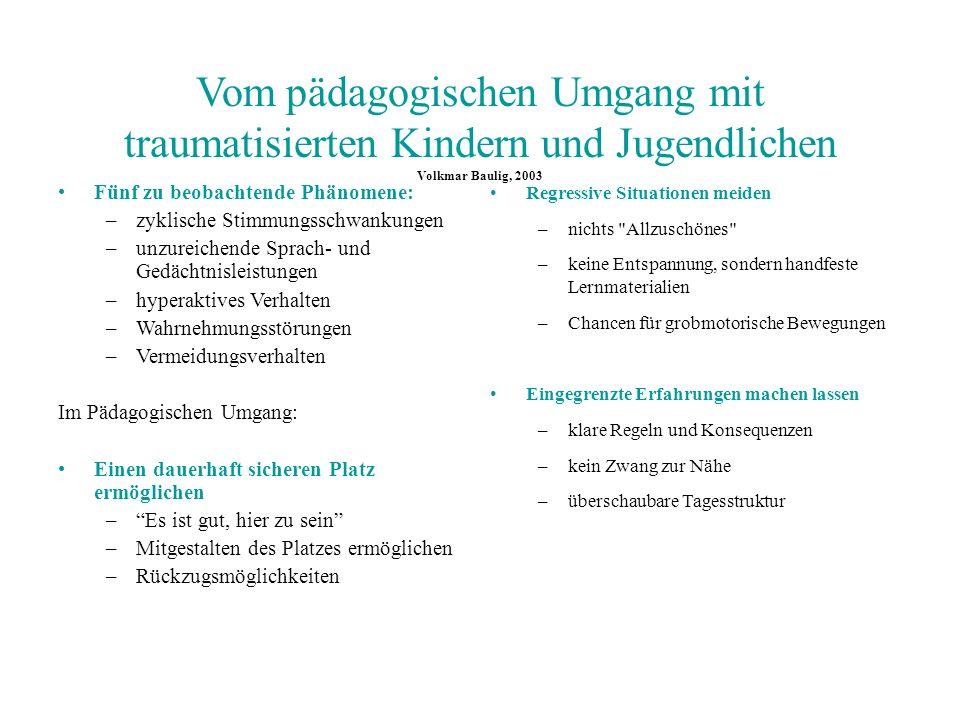 Vom pädagogischen Umgang mit traumatisierten Kindern und Jugendlichen Volkmar Baulig, 2003
