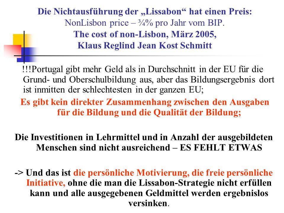 """Die Nichtausführung der """"Lissabon hat einen Preis: NonLisbon price – ¾% pro Jahr vom BIP. The cost of non-Lisbon, März 2005, Klaus Reglind Jean Kost Schmitt"""
