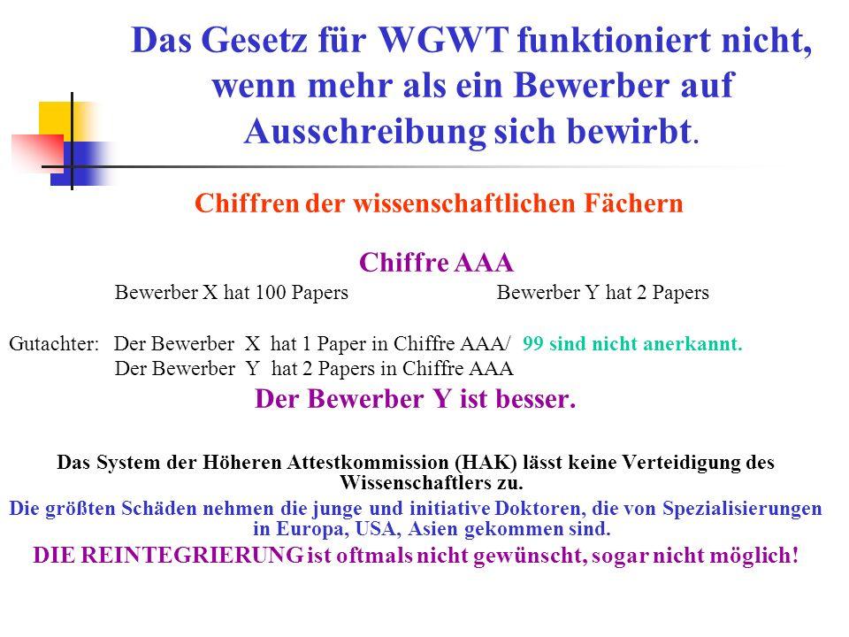 Das Gesetz für WGWT funktioniert nicht, wenn mehr als ein Bewerber auf Ausschreibung sich bewirbt.