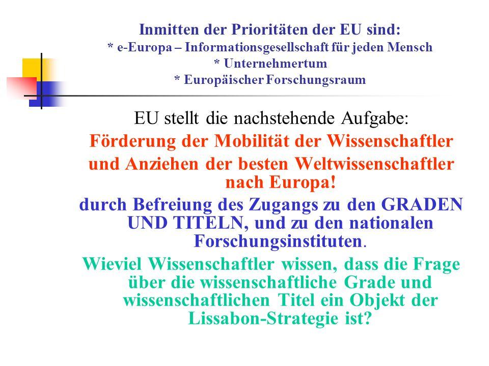EU stellt die nachstehende Aufgabe: