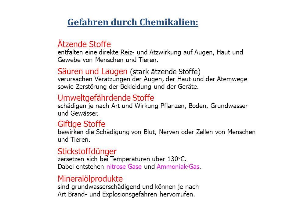 Gefahren durch Chemikalien: