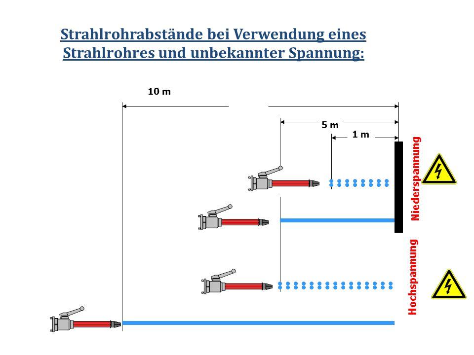 Strahlrohrabstände bei Verwendung eines Strahlrohres und unbekannter Spannung: