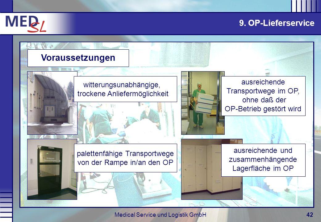Voraussetzungen 9. OP-Lieferservice ausreichende Transportwege im OP,