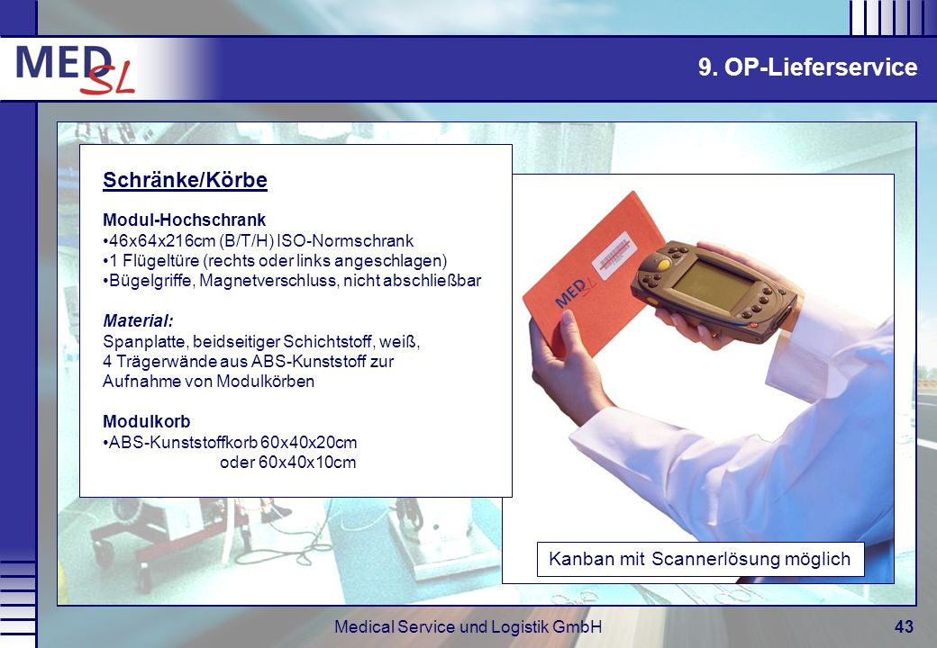 9. OP-Lieferservice Schränke/Körbe Modul-Hochschrank