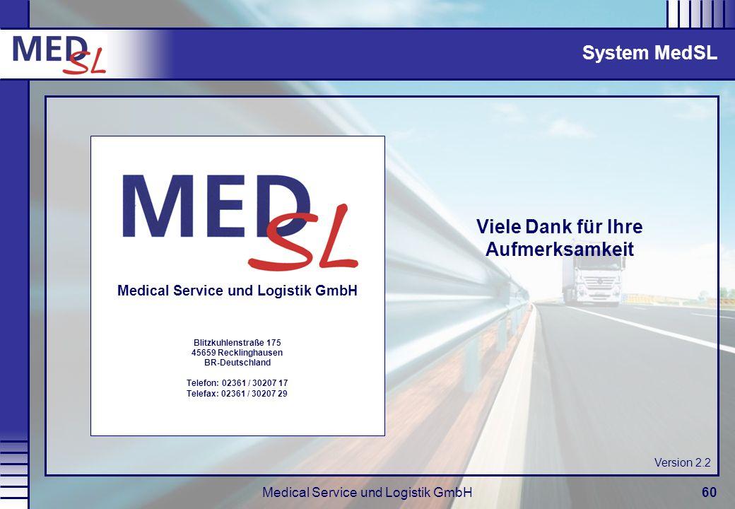 Viele Dank für Ihre Aufmerksamkeit Medical Service und Logistik GmbH