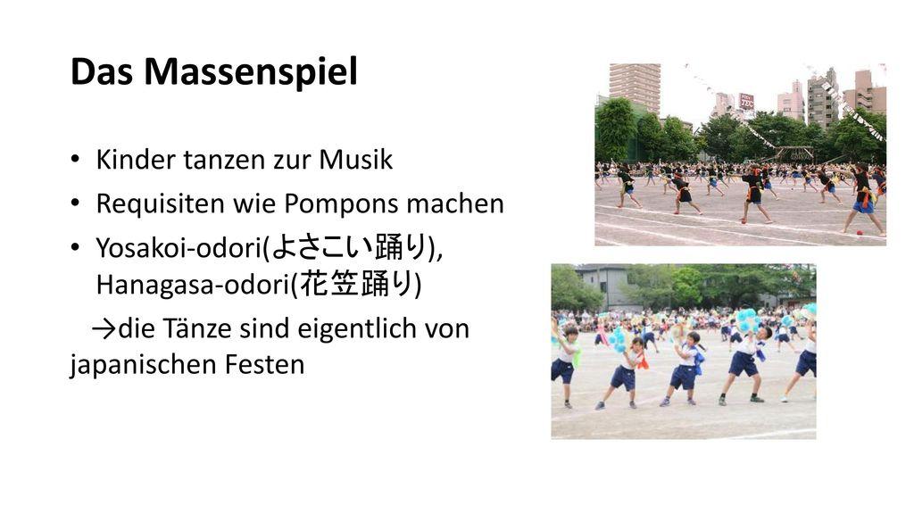 Das Massenspiel Kinder tanzen zur Musik Requisiten wie Pompons machen