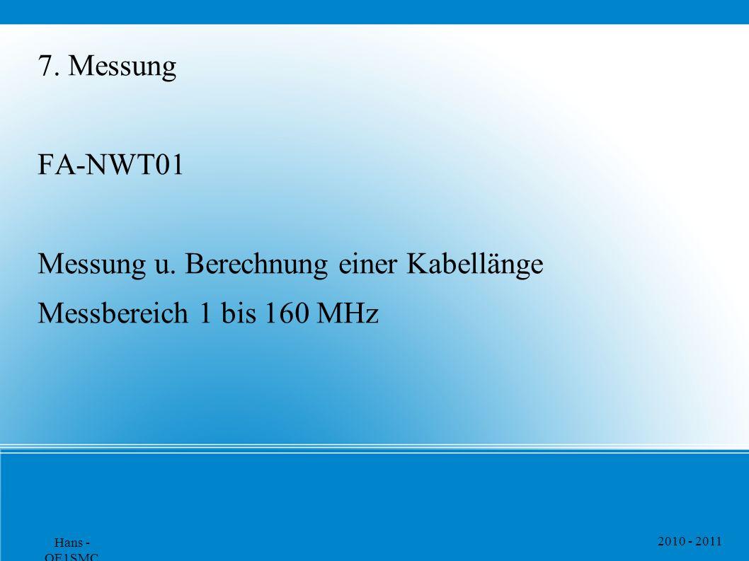 Messung u. Berechnung einer Kabellänge Messbereich 1 bis 160 MHz