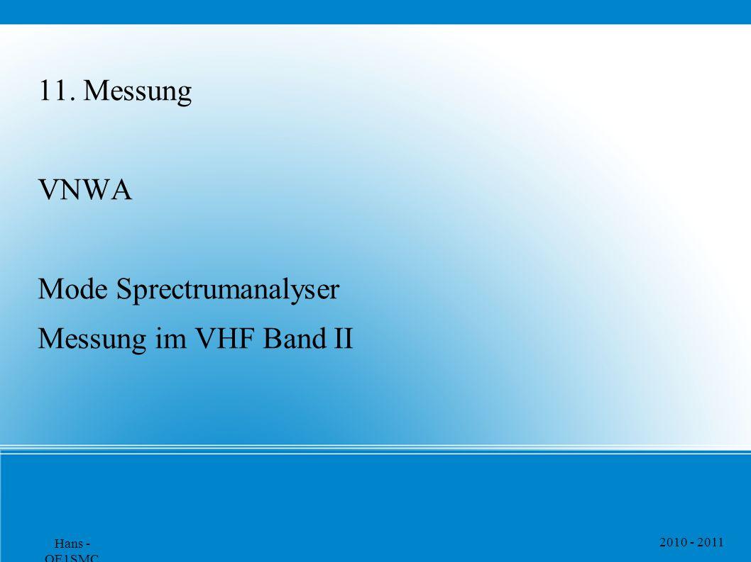 11. Messung VNWA Mode Sprectrumanalyser Messung im VHF Band II