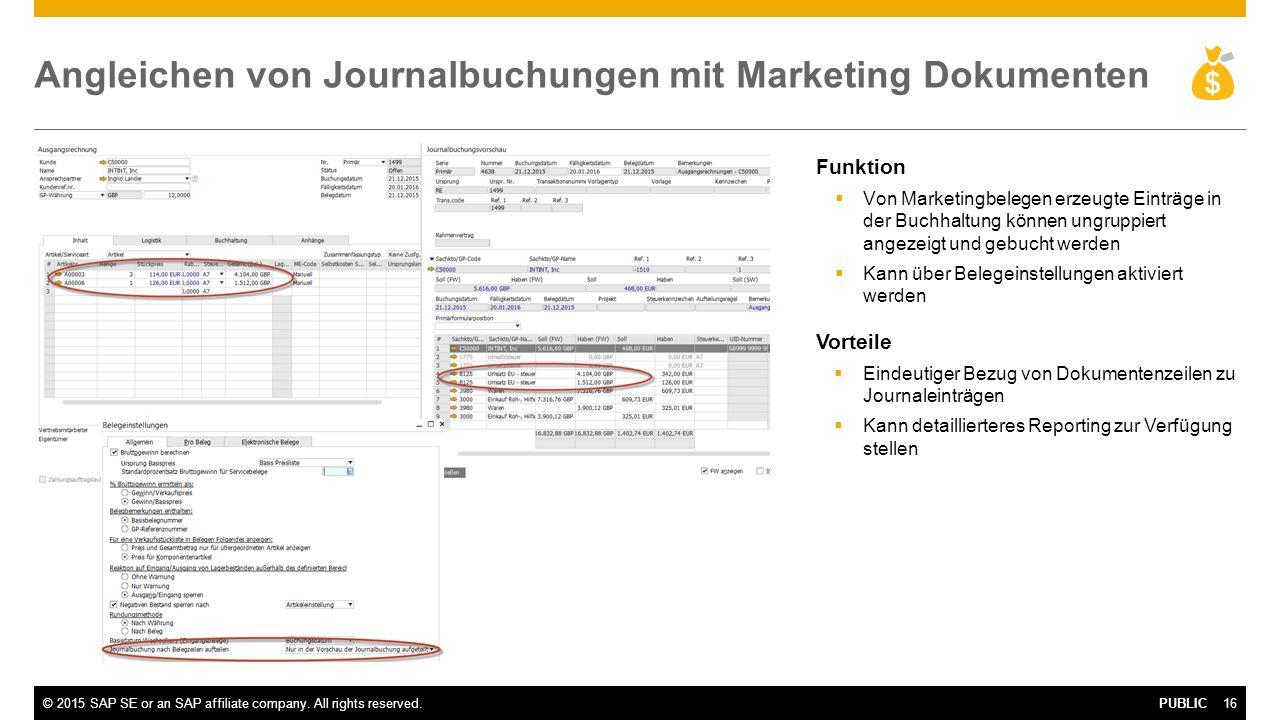 Angleichen von Journalbuchungen mit Marketing Dokumenten