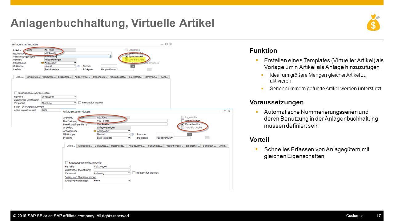Anlagenbuchhaltung, Virtuelle Artikel