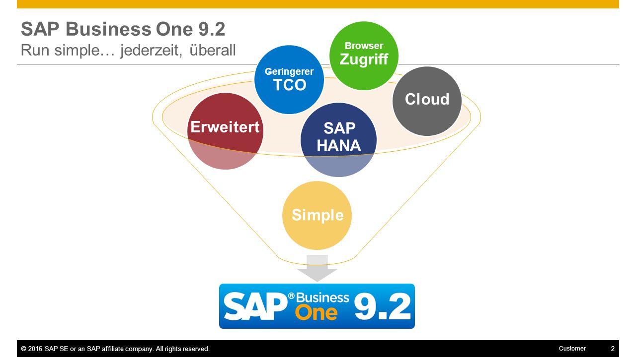 SAP Business One 9.2 Run simple… jederzeit, überall Cloud Erweitert