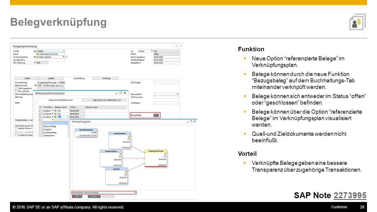 Belegverknüpfung SAP Note 2273995 Funktion Vorteil