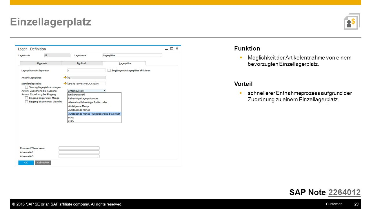 Einzellagerplatz SAP Note 2264012 Funktion Vorteil